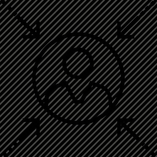 arrow, focus, usability, user, user centered icon