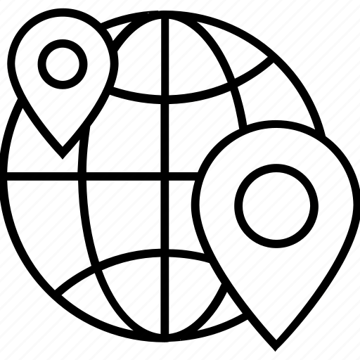 geo target, globe, grid, map pin, world icon