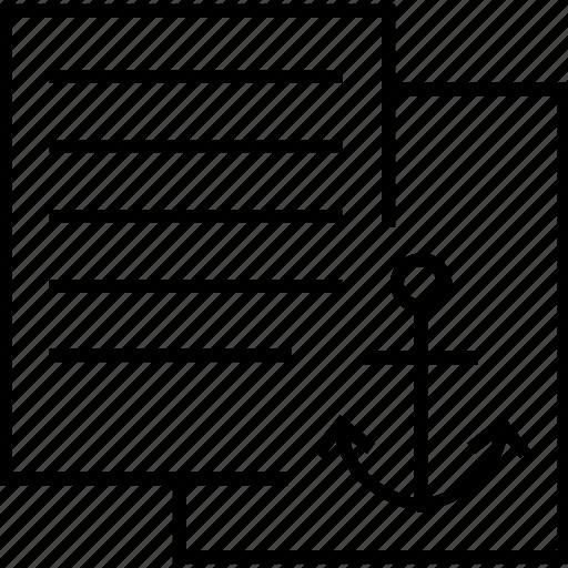 anchor, anchor text, document, sheet, text icon