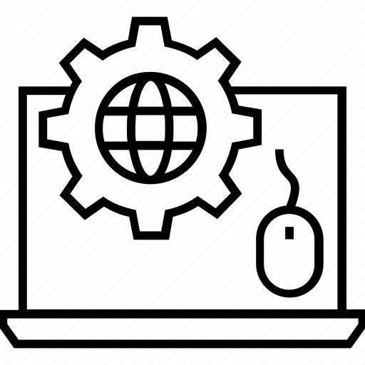 click, cogwheel, globe, mouse, web development icon