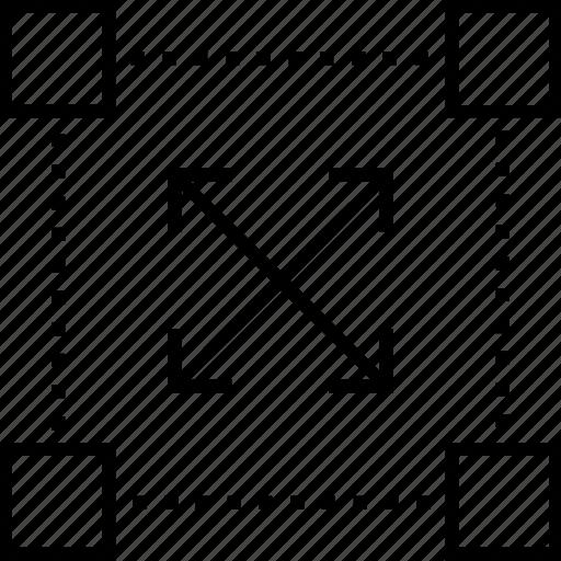 direction, focus, network, object, prototype icon