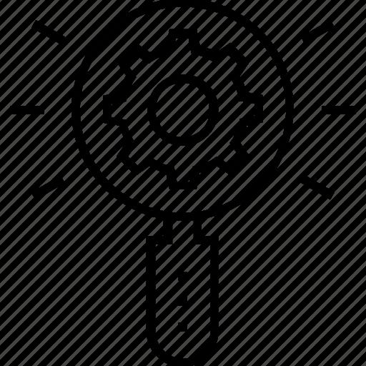 cogwheel, magnifier, search engine, search optimization, seo icon