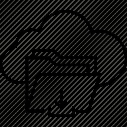 arrow, cloud computing, download, file, storage icon