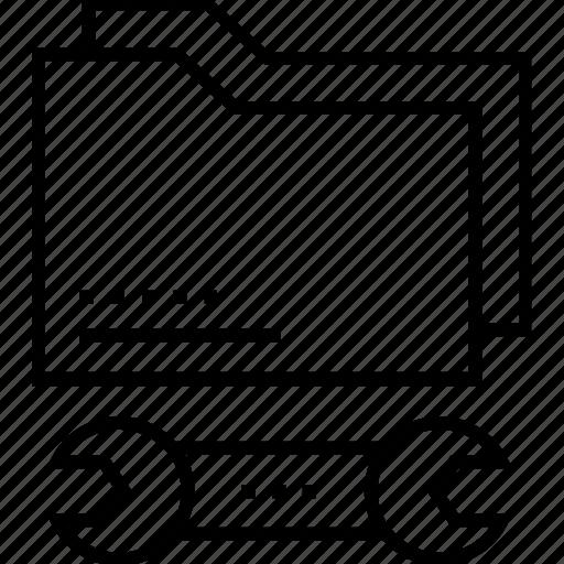 data, folder, repair, spanner, tech service icon