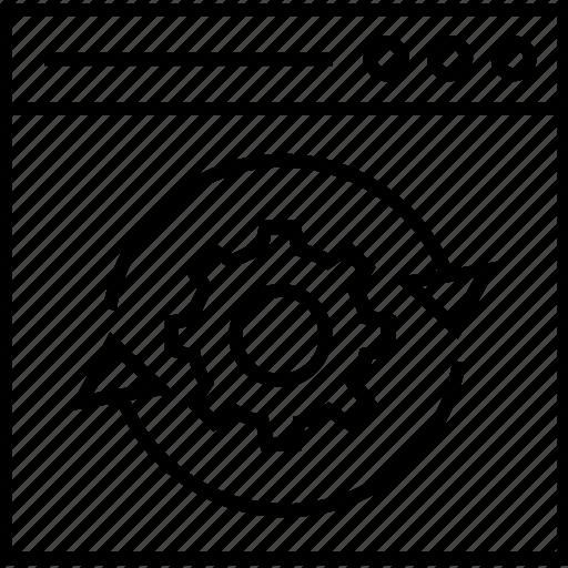 cogwheel, initializing, optimization, processing, seo icon