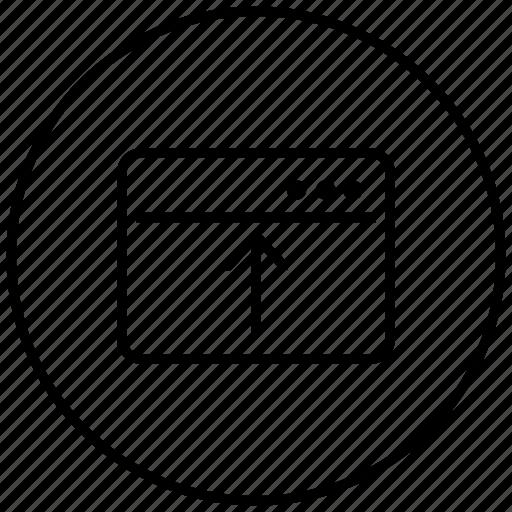 arrow, browser, internet, tab, up, web icon