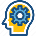 brain cog, brain gear, brainstorm, cogwheel, thinking icon