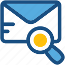 email, envelop, magnifying, search email, searching icon