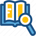 ebook, find lesson, library, search book, search lesson icon