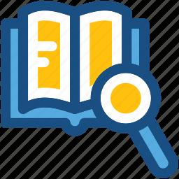 ebook, find lesson, library, search book, search lesson icon