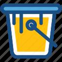 bucket, pail, paint bucket, water, water bucket