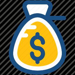dollar sack, finance, money bag, money sack, saving icon