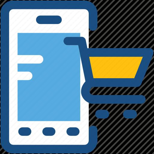 e commerce, m commerce, online shopping, shopping app, shopping cart icon