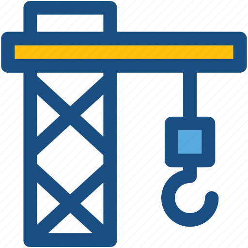 construction, crane, crane hook, lifting, lifting hook icon