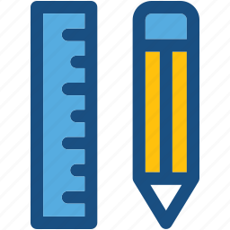 draft tools, geometry, pencil, ruler, scale icon