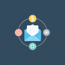 email marketing, internet advertising, online advertising, online marketing, web advertising icon