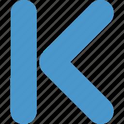 arrow, back, backward, direction, k, left, previous icon