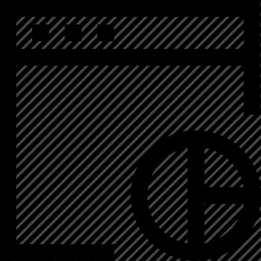 browser, chart, computer, design, divide, percentage, pie icon