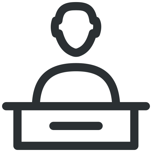 front desk, front office, hotel reception, reception, receptionist icon icon