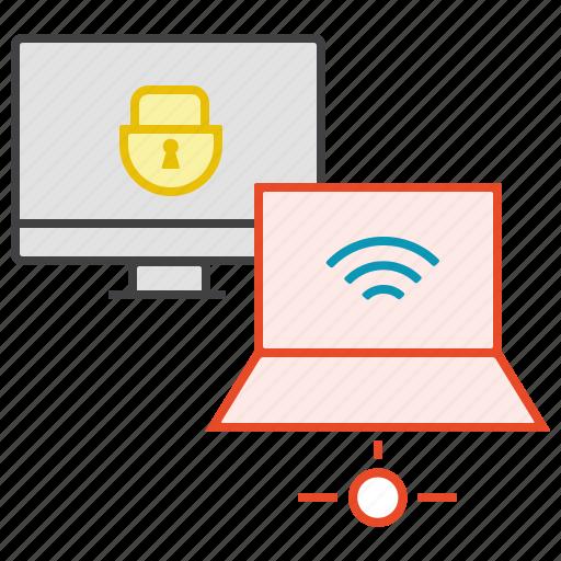 access, internet, laptop, lock, pc, wifi icon