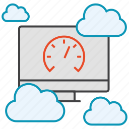 clouds, computer, data, pc, server, speed, upload icon