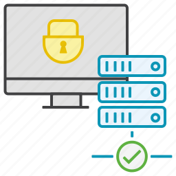 check, computer, connection, cp, data, lock, server icon