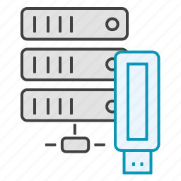 data, database, drive, hosting, server, usb icon