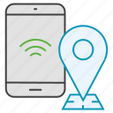 location, map, mobile, pin, smartphone icon