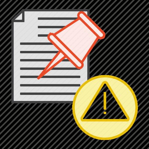 alert, document, file, pin, warnning icon