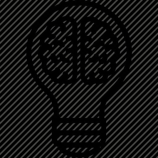 brain, bulb, creative ideas, creativity icon
