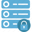 database, database protection, padlock, security, server lock icon