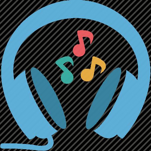 earbuds, earphones, earspeakers, headphone, notes icon