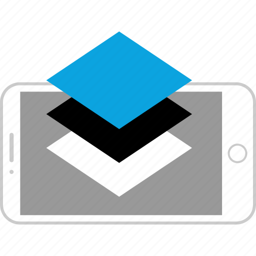 device, editing, layers, mobile icon