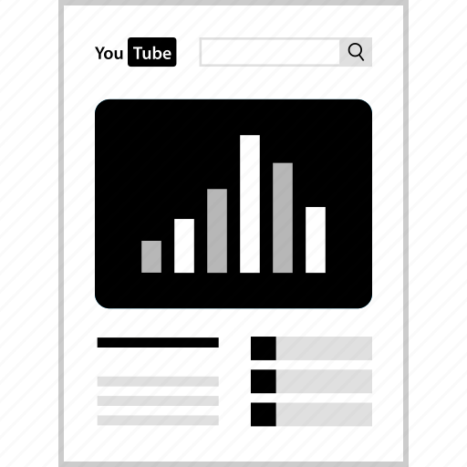 analytics, data, infographic, youtube icon