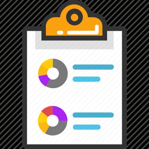 analysis, analytics, business report, business statistics, circular chart, pie chart clipboard icon