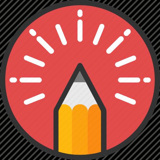 creative idea, creative writing, inspiration, pencil, pencil light icon