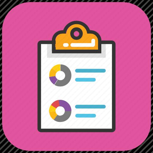 analysis, analytics, business statistics, circular chart, pie chart clipboard icon