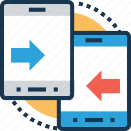data transfer, devices, exchange, responsive, transfer icon