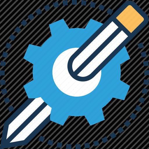 composing, development tool, gear, maintenance, pencil icon