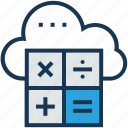 calculation, cloud, cloud computing, database, icloud icon