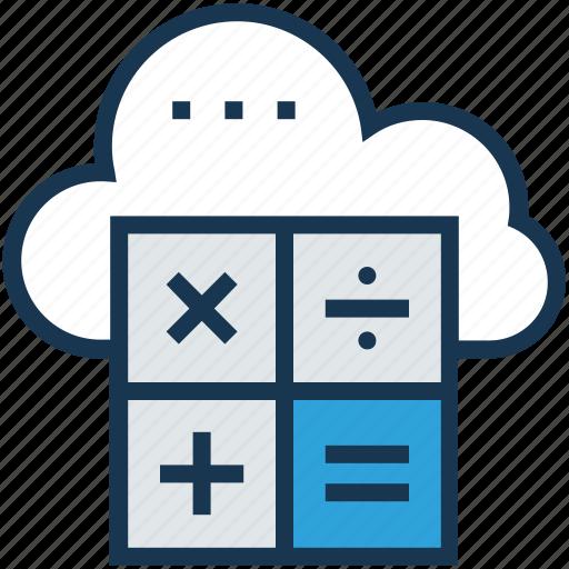 calculation, cloud, cloud computing, database, icloud icon