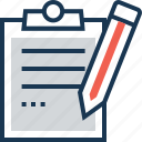 clipboard, stationary, test, testing, writing icon
