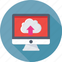 cloud computing, cloud drive, icloud, monitor, upload icon