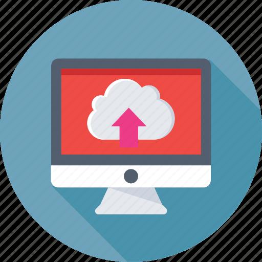 cloud computing, cloud drive, icloud, monitor, upload icon