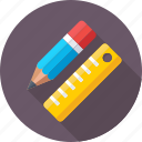 geometry, pencil, drafting, drawing, ruler icon