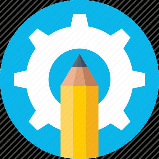 artwork, cog, designing, drafting, pencil icon