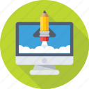build site, create website, monitor, rocket, startup icon