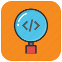 code focus, code magnifier, coding, html code, programming icon