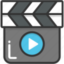 clapboard, clapper, clapper board, multimedia, shooting icon