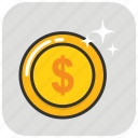 coin, currency, dollar, finance, funds, money, savings icon
